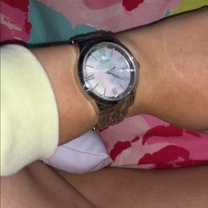 Fossil iridescent face watch with silver accents
